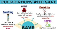 Collocations with Save! Learn commonly used collocations and expressions with Save in English with example sentences and ESL picture to improve your English.
