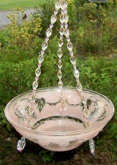 Birdbath or plant holder homemade. glass lamp shade.
