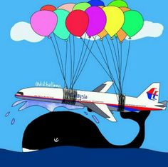 Malaysia Airlines flight 370 failwhale. A bit of a bad taste but still good art. (Failwhale is associated when the massive realtime sharing site Twitter goes down)