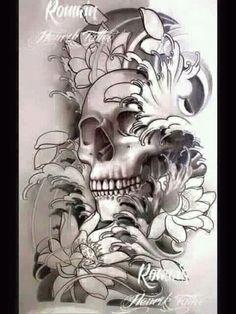 Sin título — ideas tatuajes calaveras (459) Lace Skull Tattoo, Skull Tattoo Flowers, Skull Tattoo Design, Skull Tattoos, Body Art Tattoos, Sleeve Tattoos, Tattoo Designs, Japan Tattoo Design, Hanya Tattoo