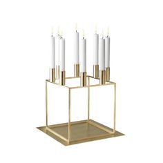 By Lassen  Brass plated metal Candlestand 290 H x 230 SQ  Available in: White Black copper-plated nickel-plated brass-plated
