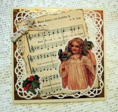 Card with Christmas carol from old songbook. Angel sticker