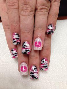 pink camo and john deere nails Pink Camo Nails, Camo Nail Art, Zebra Nail Art, Hot Pink Nails, Plaid Nails, Camo Nail Designs, Nail Art Designs, Girls Nail Designs, Colorful Nail Designs