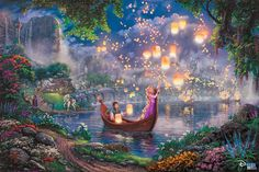"""Did you know that """"Tangled"""" is Disney's animated full length movie? It is also one of the Thomas Kinkade Studios fan favorites! This week we are releasing a new Thomas Kinkade Studios painting based on another popular Disney movie. Can you guess what Disney Kunst, Art Disney, Film Disney, Disney Love, Disney Pixar, Disney Artwork, Disney Crafts, Thomas Kinkade Disney Paintings, Kinkade Paintings"""