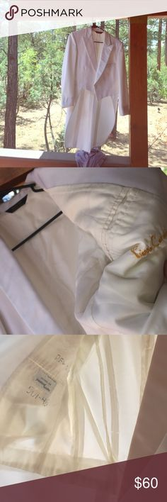 MENS Pierre Cardin white tux with tails top only Used – one time wedding Pier Cardin -made of imported fabric in the USA –  for president Tuxedo. Writing/numbers right inside pocket – needs to be dry cleaned in my opinion – just  minor signs. Was very pricey!The one night short time wearing – button front – Tail as shown with  silky lapel-  bright white – few spots on it, dry cleaning will do the trick – looks like they pin the back of the tux -  I took them out I'm sure this can be fitted…