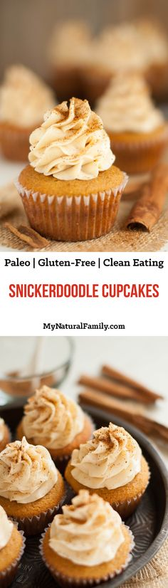 Snickerdoodle Cupcakes Recipe (Paleo, Gluten Free, Clean Eating) - This paleo cupcakes recipe is made better with the addition of cinnamon which gives it the snickerdoodle flavor. The tops are sprinkled with cinnamon sugar.