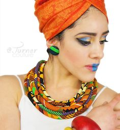 Kente Cloth Rope Necklace African Kente Jewelry by ETurnerCouture