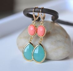 Large Turquoise Teardrop and Bright Coral Dangle Earrings by RusticGem. Coral Aqua Wedding.