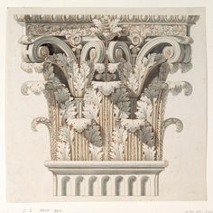 Corinthian Capital, 1798. Drawing. Italy.