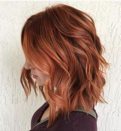 Gorgeous auburn tousled wavy lob by Aveda artist Lindsay. Aveda hair color formula in comments.