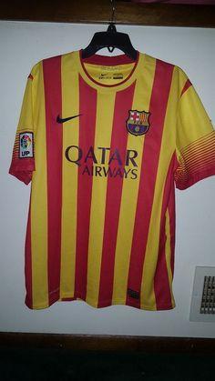 FCB FC Barcelona Qatar Airways Soccer Futbol Jersey Shirt ~ Size XL L Men s  👍  cf5db5e7f32