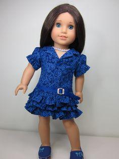 American Girl doll clothes  Dark blue print   by JazzyDollDuds, $22.00