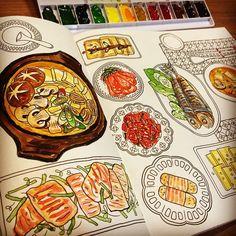 #밥상 그림 ㅎㅎ 다이어트엔 좋지 않군 ㅜㅜ배고파 #컬러링앤더푸드