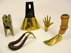 Yet another designer I had never heard of before, Carl Auböck is the man behind this beautiful collection of brass Mid-Century knickknacks. 3d Wall Art, Brass Metal, Copper, Industrial, Wall Sculptures, Precious Metals, Interior Styling, Mid Century, Ceramics
