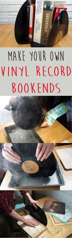 DIY bookends made from old vinyl records