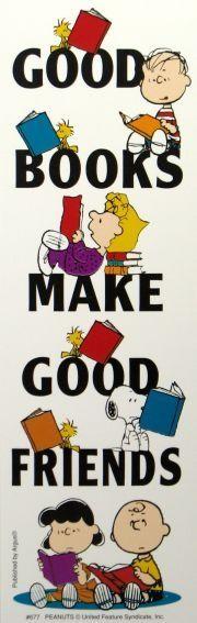 """O Lobo Leitor: Os Peanuts dizem que """"Os bons livros são bons amigos"""""""