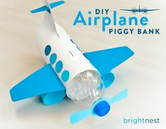 Airplane Bank craft - Recycled Kid Craft - acraftylife.com #preschool #craftsforkids #crafts #kidscraft
