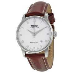 Mido Baroncelli Automatic White Dial Brown Leather Men's Watch M86004268, Size: 38mm