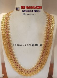 Presenting here is an Elegant Semi-uncut diamonds Kasuharram/KasuPeru studded with Rubies and South Sea Pearls.They also make on customized orders. 27 May 2019 Jewelry Design Earrings, Gold Jewellery Design, Gold Temple Jewellery, Gold Jewelry, Gold Bangles, Gold Necklaces, Uncut Diamond, Bridal Jewelry, Gold Ornaments