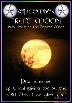 Moon:  SEPTEMBER ~ FRUIT #MOON. Also known as the Harvest Moon. Plan a ritual of Thanksgiving for all the Old Ones have given you.