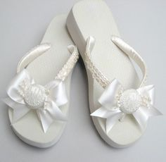 Monogrammed Bridal Flip Flops with Pearls and Bows - $50