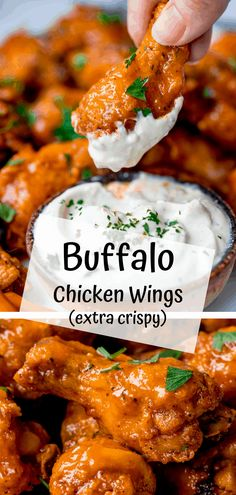Crispy Buffalo Wings - - Crispy Buffalo Wings Food and beverage Perfectly crispy baked chicken wings smothered in easy homemade buffalo sauce. So simple to make – they'll be a total hit for any party table! Easy Homemade Buffalo Sauce, Homemade Wings, Homemade Sauce, Buffalo Sauce Recipes, Baked Buffalo Wings, Grilled Buffalo Wings Recipe, Recipe For Buffalo Wings, Hot Wings Recipe Fried, Gastronomia