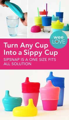 How cool is this! SipSnap is a spill-proof cup lid that's an airtight seal over any cup without handles. You can use the glasses you already have to help your tot transition from a bottle to a cup!