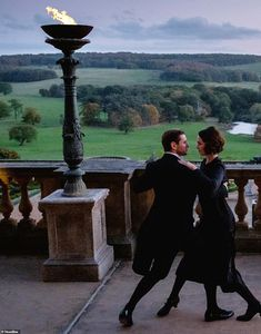 Candid snaps give fans a backstage look at Downton Abbey The Movie - May I have this dance? One still shows the sweeping views around scenic Highclere [pictured are Bra - Downton Abbey Movie, Downton Abbey Fashion, Branson Downton Abbey, John Wesley Shipp, Robert Englund, Elijah Wood, Mickey Rourke, William Shatner, David Hasselhoff Baywatch