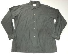 Vintage ARROW Sanforized Contour Tailored Decton Sage Shirt LARGE Made in USA #Arrow #ButtonFront