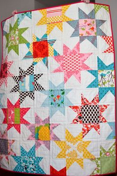 Star with focal fabric for center....check out the two different lengths in star points.