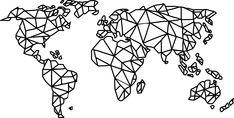 Worldmap in minimalist Design. Plasma, Line S, Minimalist Design, Soldering, Geometric Drawing, World Wide Map, Minimalist, Cards, Minimal Design