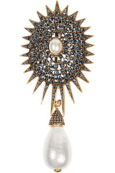 Oscar de la Renta | Gold-plated, crystal and faux pearl brooch | NET-A-PORTER.COM