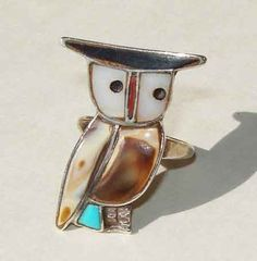 Vintage 60s Owl Zuni Inlay Indian Mosaic by metroretrovintage, $39.95
