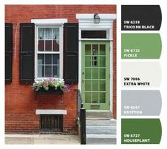 Super Front Door Colors With Red Brick And Black Shutters Ideas Shutters Brick House, Green Shutters, Best Front Door Colors, Green Front Doors, Brick House Colors, Exterior House Colors, House Front Door, House With Porch, Barn Door Decor