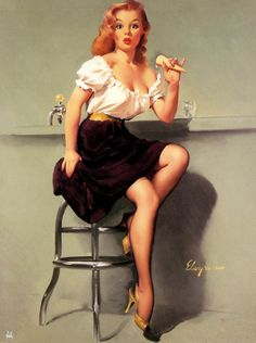 Pin up painting by Gil Elvgren