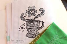 Teacup Doodle, Zentangle, Lori Kennedy