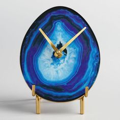 Blue Faux Agate Tabletop Clock with Brass Stand - v1