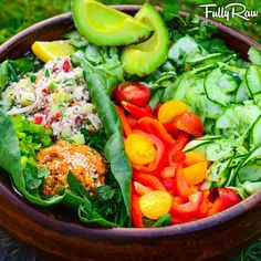 """""""Mediterranean Night!  #FullyRaw Falafel, tabouli, cucumber dill salad, red bell peppers, and avocado with a tahini lemon dill dressing! Absolutely…"""""""