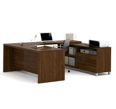 Premium Modern U Shaped Desk In Oak Barrel