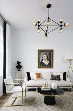 neutral living room with black accents