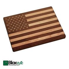 Patriotic Gift Ideas, American Flag Engraved Cutting Board #bloxstyle www.bloxstyle.com