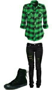Simple Green & Black Outfit