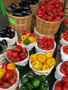 Peppers and eggplant, Jean-Talon Market, Montreal, Canada