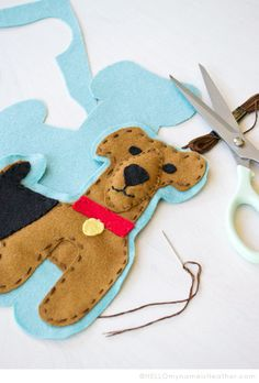 Heather Baily Airedale Terrier Dog Stuffed Animal Felt Pillow