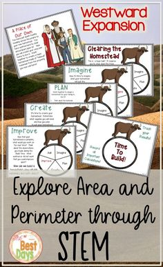 Are you teaching westward expansion in grade, grade or grade? This STEM activity will allow you to connect history and mapping ideas with area and perimeter! Add this to your unit about life on the prairie or land expansion in the United S Elementary Science, Upper Elementary, Elementary Schools, Math Classroom, Math Math, Guided Math, Classroom Resources, Classroom Ideas, Science Lessons