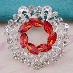 New Cheap Female Fashion Silver Plated Red Crystal and Rhinestone Flower  Wreath Brooch Pin for Women 5cdb8ec7b6ba