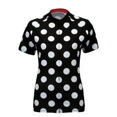 Women's Polka Dot Black Cycling Jersey