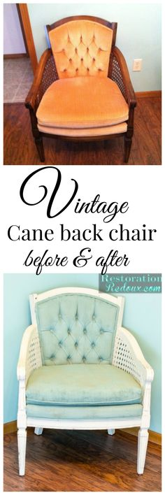 Before and after vintage cane back chair