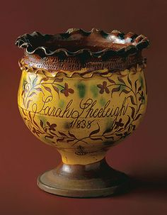 Sgraffito redware: flowerpot, 1838; attributed to John Vickers (active 1796 – 1860). Chester County Historical Society, West Chester