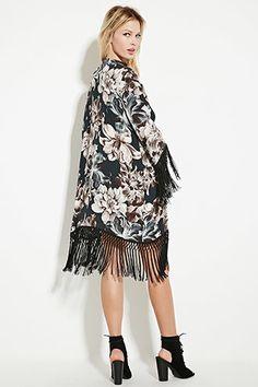 Tasseled Floral Longline Kimono